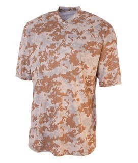 Bodek N3263 A4 Adult Camo Two-Button Henley