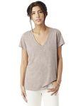 Alpha Broder 2894B2 Ladie's Melange Burnout Slinky V-Neck T-Shirt