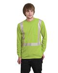 Alpha Broder BA3709 5.4 Oz., 50/50 Hi-Visibility Segmanted Striping Long-Sleeve Pocket T-Shirt