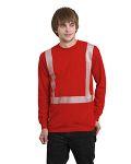Alpha Broder BA3712 6.1 Oz., 100% Cotton Hi-Visibility Segmanted Striping Long-Sleeve Pocket T-Shirt