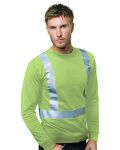 Alpha Broder BA3761 6.1 Oz., 100% Cotton Hi-Visibility Solid Striping Long Sleeve T-Shirt