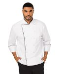 Alpha Broder DC42B Unisex Executive Chef Coat With Piping