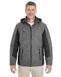 Alpha Broder DG710 Men's Midtown Insulated Fabric-Block Jacket With Crosshatch Melange