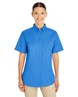 Alpha Broder M582W Ladie's Foundation 100% Cotton Short-Sleeve Twill Shirt With Teflon™