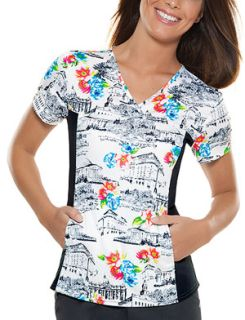 Cherokee Uniforms 2812 V-Neck Knit Panel Top
