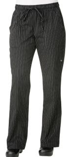 Chef Works BWOM Women's Black Pinstripe Chef Pants