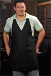 V-Neck Tuxedo Apron w/ Center Divided Patch Pocket