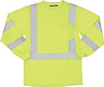 ERB SAFETY 9802S ANSI Class 3 T-Shirt Long Sleeve W/Reflective Tape