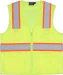ERB Safety S149 ANSI Class 2 Vest Tricot & Mesh Hi-Viz Lime - Zipper