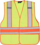 ERB Safety S156 ANSI Class 2 Vest Tricot & Mesh Hi-Viz Lime - Hook & Loop
