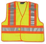 ERB Safety S345 ANSI 207 PSV Vest Mesh Break-Away Hi-Viz Lime W/Contrasting Trim - Hook & Loop