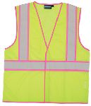 ERB SAFETY S730 ANSI Class 2 Unisex Vest Mesh Hi-Viz Lime with Pink Trim - Hook/Loop
