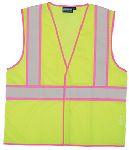 ERB SAFETY S730 ANSI Class 2 Unisex Vest Mesh Hi-Viz Lime with Pink Trim - Hook/Loop