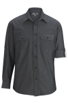 Edwards 1298 Edwards Men's Chambray Roll Up Sleeve Shirt