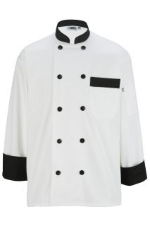 Edwards 3303 Edwards 10 Button Chef Coat With Black Trim