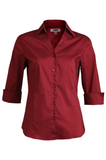 Edwards 5045 Edwards Ladies' Tailored V-Neck Stretch Blouse-3/4 Sleeve