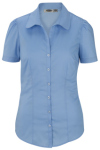 Edwards 5046 Edwards Ladies' Tailored Open Neck Stretch Blouse-Short Sleeve