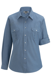 Edwards 5298 Edwards Ladies' Chambray Roll Up Sleeve Shirt
