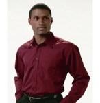 Men's Point Collar Poplin Long Sleeve Shirt