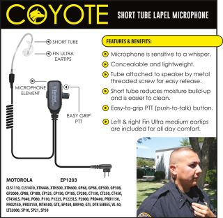 Ear Phone Connection | Coyote | Coyote Short Tube Lapel Microphone