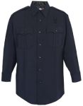 Men's LAPD Navy Long Sleeve Shirt, Zippered Front, 75/24/1 Polyester/Wool/Lycra