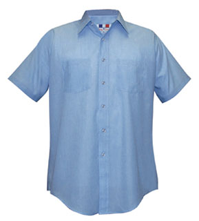 Fechheimer 74A4805 Men's Short Sleeve Transit Light Blue 65P/35C