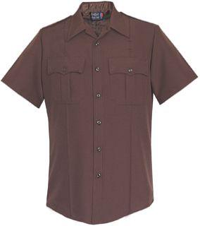 Fechheimer 85R7884Z Mens Short Sleeve Shirt W/Zipper Brown 100% Polye