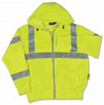 Fame Fabrics S375 ANSI Class 3 Hooded Sweatshirt 7oz Polyester Fleece Hi-Viz - Zipper