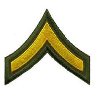 "Hero's Pride 5411P Pr - PFC - 3"" Wide - Med Gold on Olive Drab"