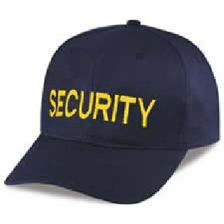 "Hero's Pride 6743 Navy Twill Cap Embr'd w/Med Gold ""SECURITY"""
