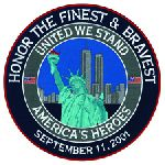 "Hero's Pride 8445A United We Stand NYPD FDNY - 5""Circle"