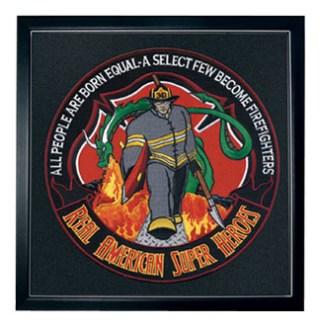"Hero's Pride 8485T01 Firefighter: American Superhero - 12""Circle - Framed"