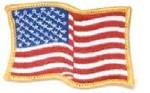 Hamburger Woolen Company Inc FLAG-2 Wavy Flag Patch, Gold Border