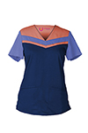 Landau 9050 Ellen V-Neck Color Block Top