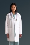 Medline MDT11 Ladies Staff Length Lab Coat W/ Breast Cancer Ribbon Embroidery