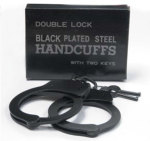 Premier Emblem P10071 Double Lock Black Plated Steel Handcuffs