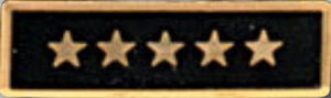 Premier Emblem P1530 Enameled  5 Star Black