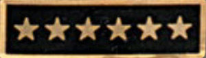 Premier Emblem P1532 Enameled  6 Star Black