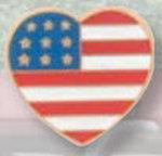 Premier Emblem P4205 American Flag Heart Pin