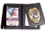 Perfect Fit 1002, 2 3/4 x 4 1/4 Dress Leather Flip Out Badge And Double ID Case