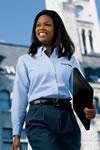 Women's Mock Oxford Button-Down Dress Shirt- LS