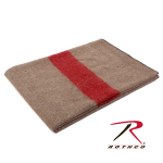 Rothco 10238 Rothco Swiss Style Wool Blanket-Tan / Red Stripe