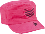 Rothco 1159 Rothco Women Adjustable Vintage Fatigue Cap - Pink With Black Sergeant Stripes & Star