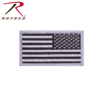 Rothco 17784 Reverse US Flag Patch w/Hook Back- Silver/Black