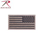 Rothco 17787 Reverse US Flag Patch w/Hook Back - Khaki/Black