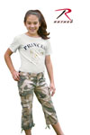 Rothco 2041 Girls Subdued Woodland Camo Vintage Capri Pants
