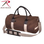 Rothco 2631 Rothco 19'' Canvas & Leather Gym Bag- Earth Brown