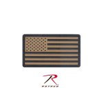 Rothco 27782 Rothco Pvc Us Flag Patch w/Hook Back - Khaki/Blk