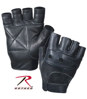 Rothco 3498 Black Leather Fingerless Biker Gloves