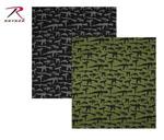 Rothco 4099 Bandana - Gun Pattern - Black Or Olive Drab